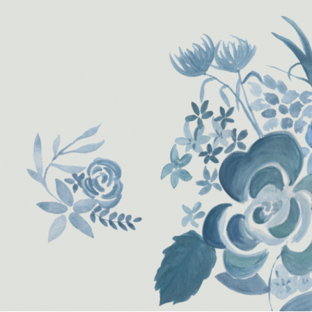 Tkanina 12060 | Blue watercolour floral