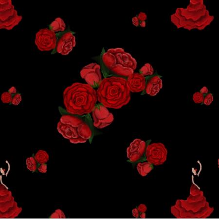 Tkanina 12136 | Rosa, hiszpański kwiat