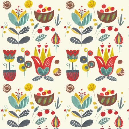 Tkanina 12285 | Nordic watercolour floral