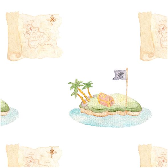 Tkanina 12301 | Pirate Map Island