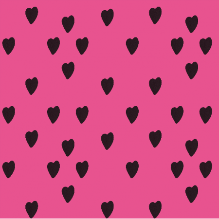 Fabric 12315 | Black heart on pink
