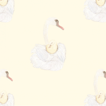 Fabric 12316 | Swan mother and baby