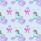 Fabric 12317 | Blue UNICORN SLEEPING ON RAINBOW CLOUD