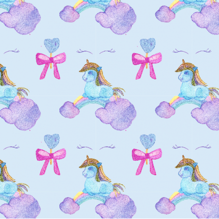 Fabric 12317 | Blue UNICORN SLEEPING ON RAINBOW CLOUD