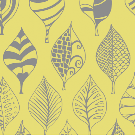 Tkanina 12333 | Geometric leaves yellow00