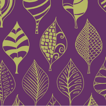 Fabric 12335 | geometric leaves royal purple