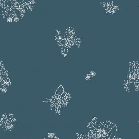 12346 | white ink flowers on navy