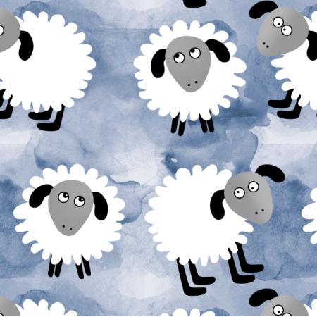 Tkanina 12350 | Owieczki na błękicie