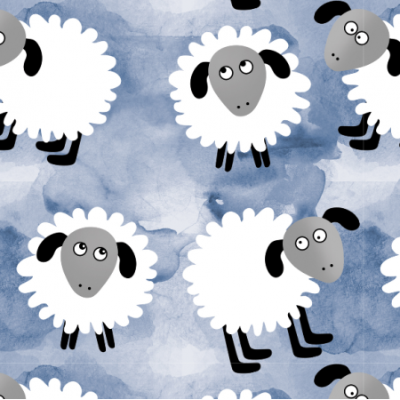 Fabric 12350 | Owieczki na błękicie