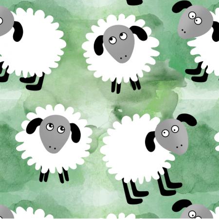 Fabric 12351 | Owieczki na zielonym
