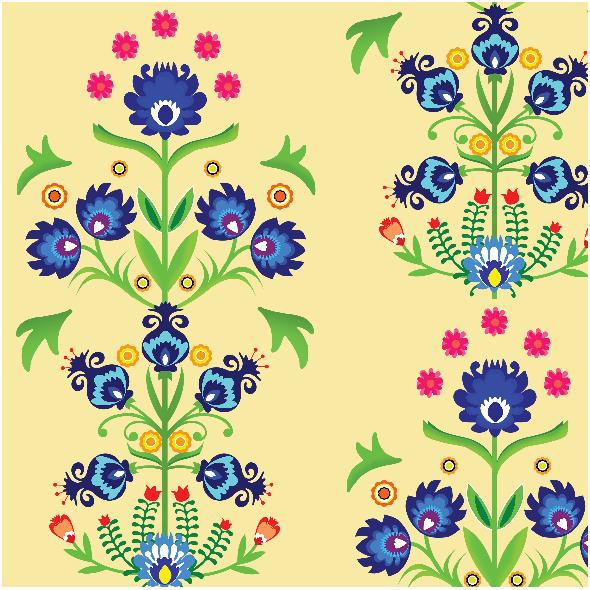 Fabric 12352 | Folk na słomkowym