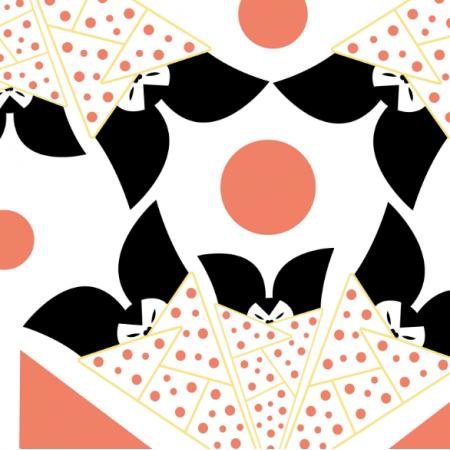 Fabric 12397 | Japońskie nietoperze wzór dziecięcy