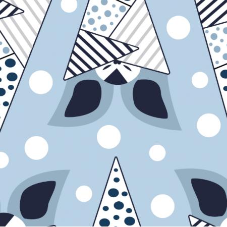 Fabric 12398 | Błękitne nietoperze wzór dziecięcy