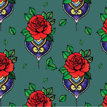 12421 | Roża / hindu motyw teal