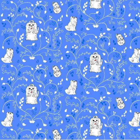Fabric 12467 | Maltańczyki (Niebieskie tło)