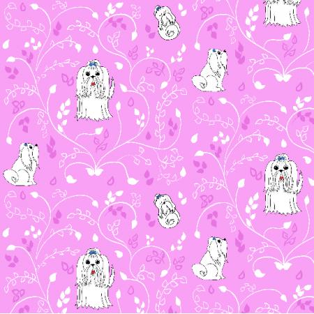 Fabric 12468 | Maltańczyki (Różowe tło)