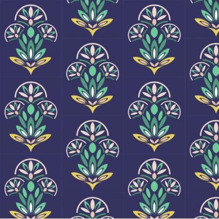 Fabric 12469 | geometryczny wzór w kwiaty etno ornament