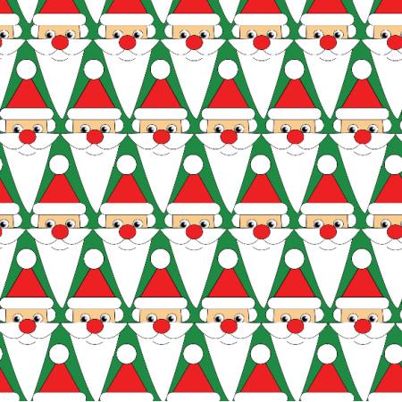 Tkanina 12498 | Świąteczne Mikołaje - zielone