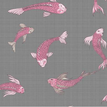 Tkanina 12552 | canvas with  japanese fishes 2
