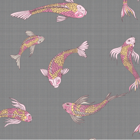 Tkanina 12553 | canvas with  japanese fishes 3