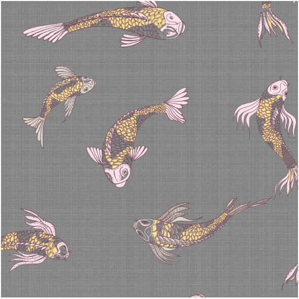 Fabric 12554 | canvas with  japanese fishes 4