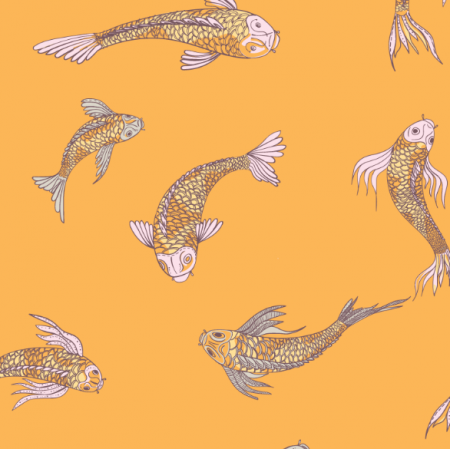 Tkanina 12557 | canvas with  japanese fishes 6