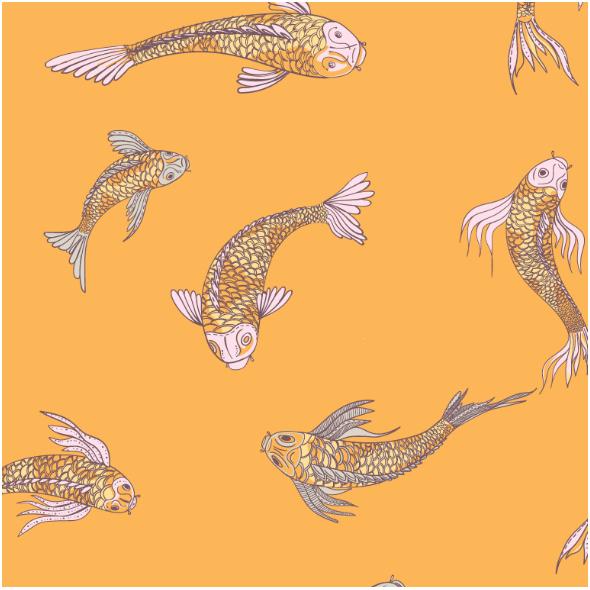 Tkanina 12557 | canvas with  japanese fishes 6