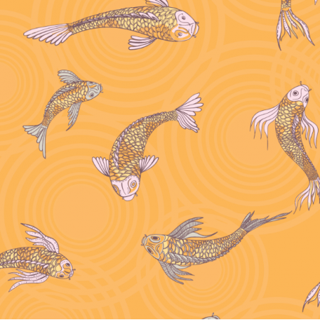 Fabric 12558 | canvas with  japanese fishes 7