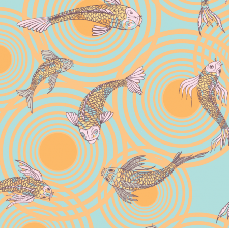 12559 | canvas with  japanese fishes 8