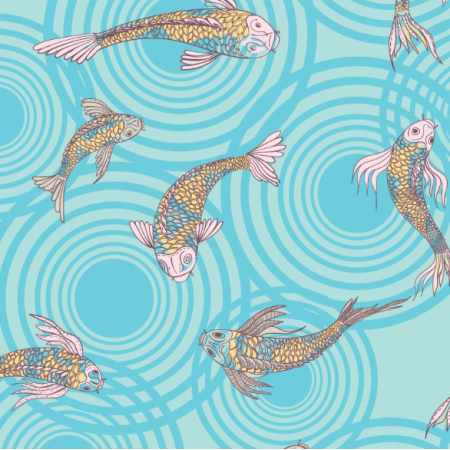 Tkanina 12560 | canvas with  japanese fishes 9