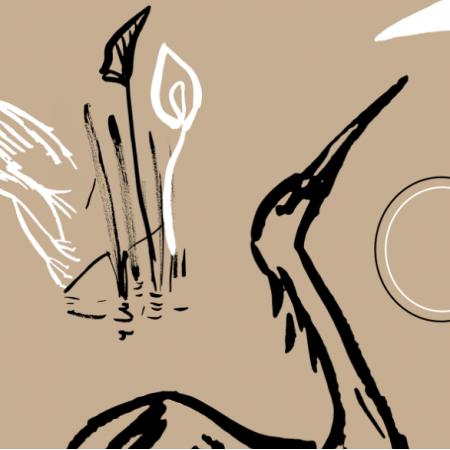 Fabric 12596 | żurawie malowane beż