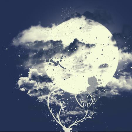 Fabric 12602 | Jeleń z księżycem