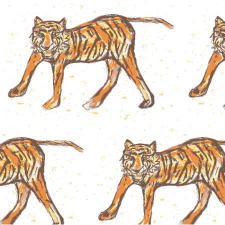 Fabric 12623 | Tiger- colourfull pattern