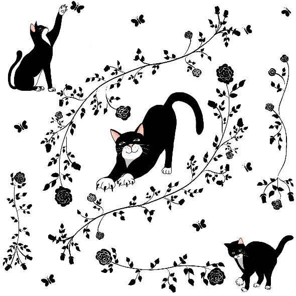 Fabric 12661   Cats and roses (Koty i róże)