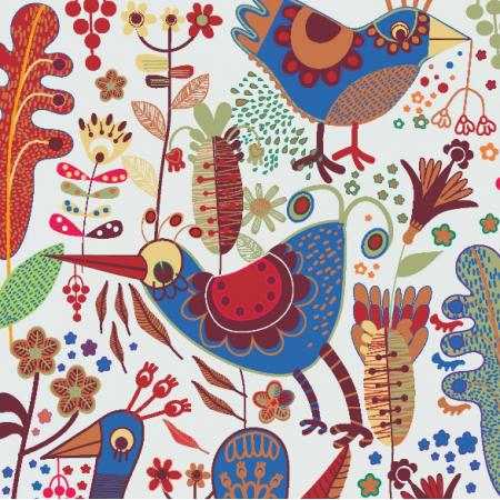 Fabric  | niebieskie ptaki