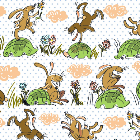 Fabric  | cute rabbits
