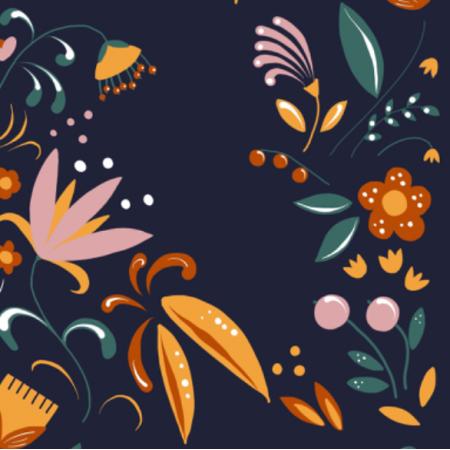 Fabric 12768 | Dark folk floral