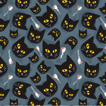 Fabric 12899 | Czarne koty