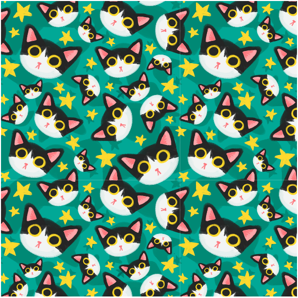 Fabric  | black and white cat