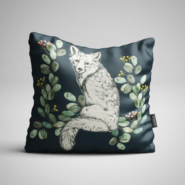 Fabric Pillow panel White Fox 1