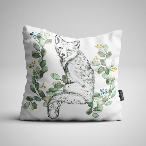 Fabric Pillow panel White Fox 2