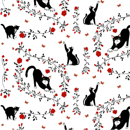 Fabric 13071 | Cats & (red) roses