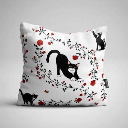 Fabric Pillow panel Cats and Red Roses