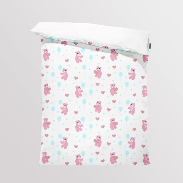 Fabric Bedding/Blanket Panel Lovely Bears White Night
