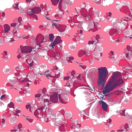 Fabric 13136 | Różowy wzór kwiatowy