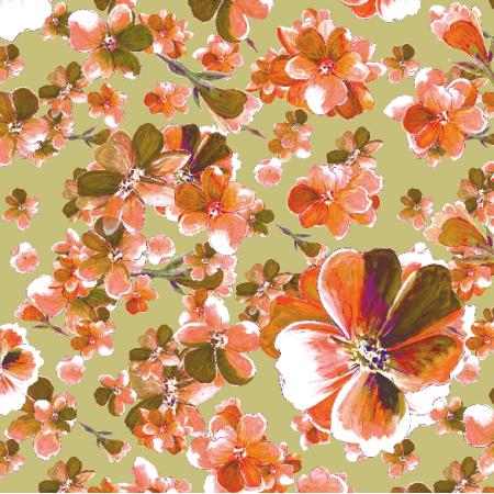 Fabric 13138 | Pomarańczowo-oliwkowe kwiaty