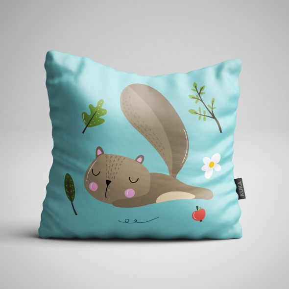 Fabric Pillow panel Sleeping Squirrel