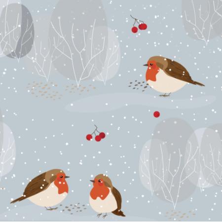 Fabric 13364 | zimowe ptaszki | błękitne | WIĘKSZE
