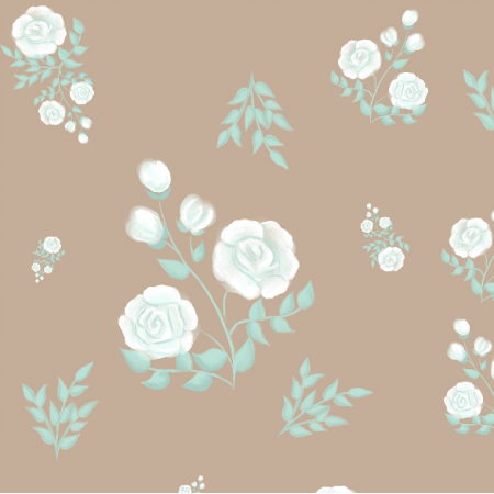Fabric 13385 | White roses (beige background)