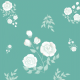 Fabric 13386 | White roses (cyan background)